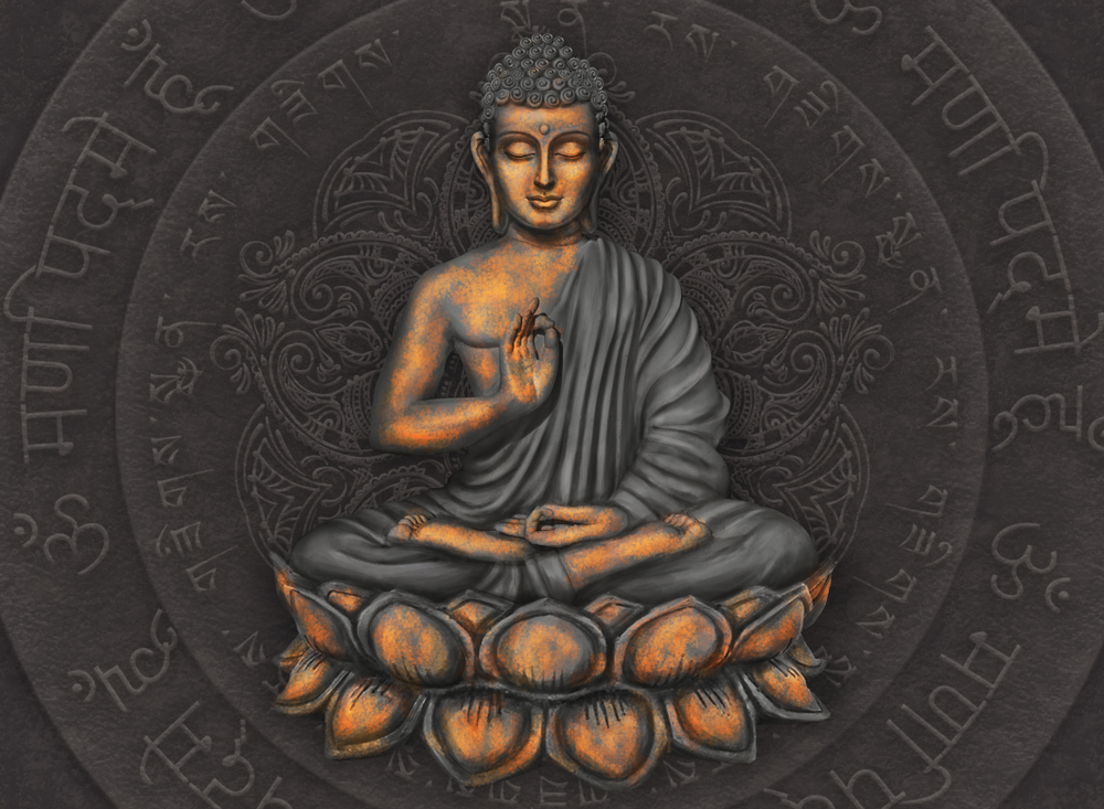 Gautama,Buddha,Against,The,Background,Of,The,Mantra,Is,Om